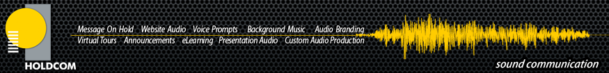 Holdcom:Digital Media Production for Marketing and Customer Service - yellow soundwave website header